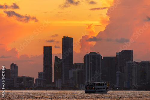 Miami City Downtown district buildings at sunset Wallpaper Mural