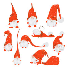 Cute Funny Christmas Characters - White Bearded Gnomes In Different Positions With Red Hats. Christmas Gnomes Set, Hand Draw Textured Vector Illustration For X-mas Cards, Greetings, Design