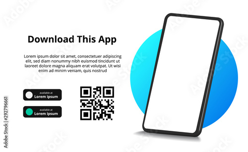 Photo page banner advertising for downloading app for mobile phone, smartphone