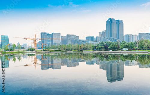 Fond de hotte en verre imprimé Bleu jean Architectural scenery around Tongzi Park in Chengdu, Sichuan Province, China