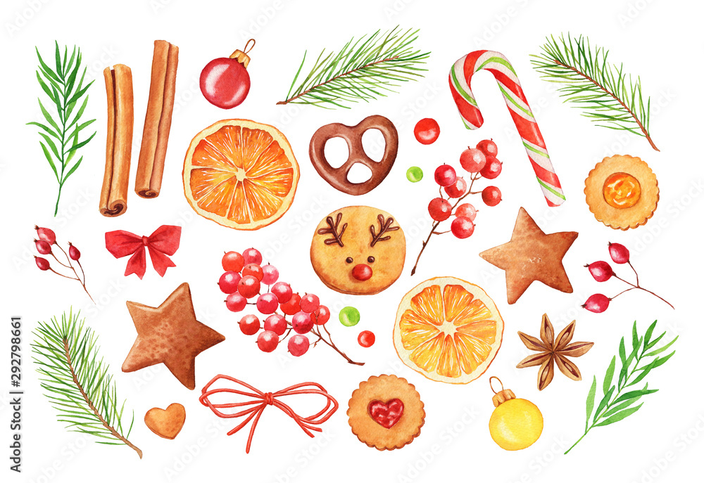 Fototapety, obrazy: Watercolor Christmas set: fir tree branches, cookies and berries. New year collection