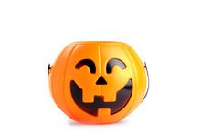 Pumpkin Toy Basket For Halloween Seasons.plastic Pumpkin, Trick Or Treat, Seasonal Celebration.