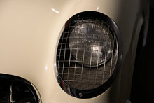 Closed Up White Vintage Car Wi...