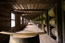 Distillery Whiskey Wooden Barrel Container Room Factory In Kentucky, USA