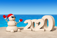 Sandy Christmas Snowman At Sunny Beach With 2020 New Year Sign. 3d Rendering