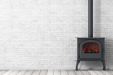 Classic Оpen Home Fireplace Stove With Chimney Pipe And Firewood Burning In Red Hot Flame. 3d Rendering