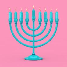 Retro Blue Hanukkah Menorah Wi...