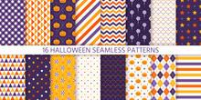 Halloween Pattern. Seamless Texture. Vector. Haloween Background With Pumpkin Face, Candy, Polka Dot, Star, Stripe, Checker. Geometric Wrapping Paper, Textile Print. Orange Yellow Purple Illustration
