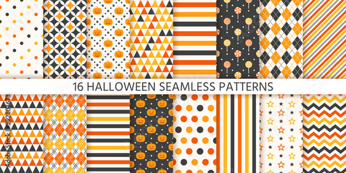 fototapeta na szkło Halloween pattern. Seamless Haloween background. Vector. Texture with pumpkin face, polka dot, star stripes triangle rhombus. Geometric wrapping paper, textile print. Orange yellow black Illustration