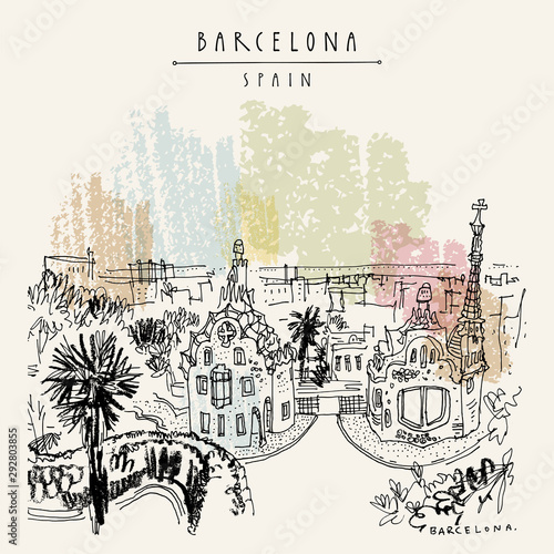 Barcelona, Catalonia, Spain. Park Guell and panoramic view of Barcelona city. Spanish travel sketch. Hand drawing. Vintage hand drawn Barcelona postcard. EPS10 vector illustration