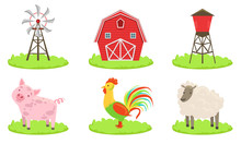 Different Farm Elements Set, Farm Animals, Wind Turbine, Barn, Silo Tower Vector Illustration