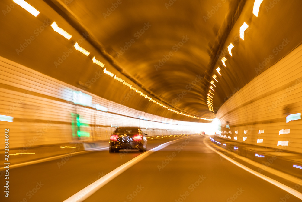 Fototapeta Lights in country road tunnel