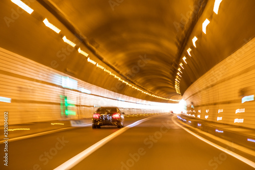 Lights in country road tunnel Canvas