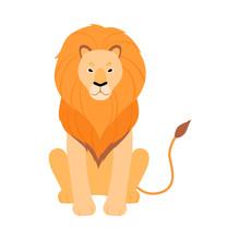 Orange Lion. Vector Illustrati...