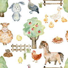 Watercolor Farm Pattern.