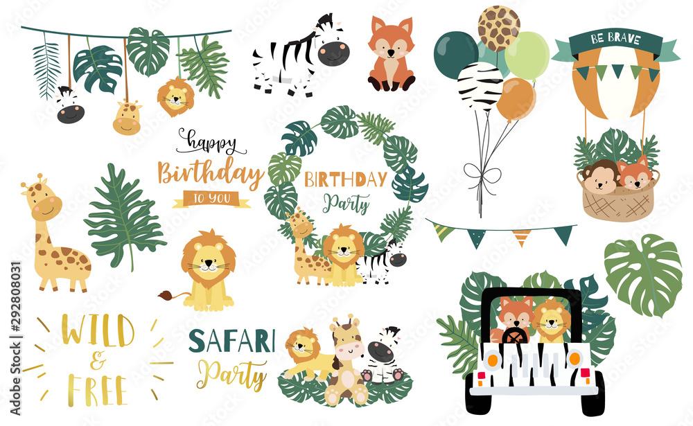 Fototapeta Safari object set with fox,giraffe,zebra,lion,leaves,car. illustration for logo,sticker,postcard,birthday invitation.Editable element