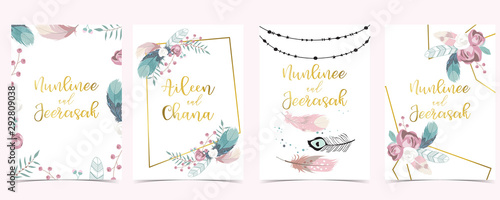 Photo Pink green geometry wedding invitation with rose,feather and leaves