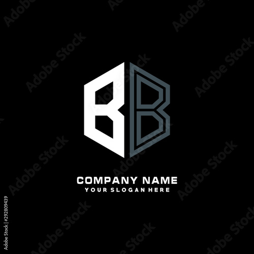 Initial letter BB minimalist line art hexagon shape logo Wallpaper Mural