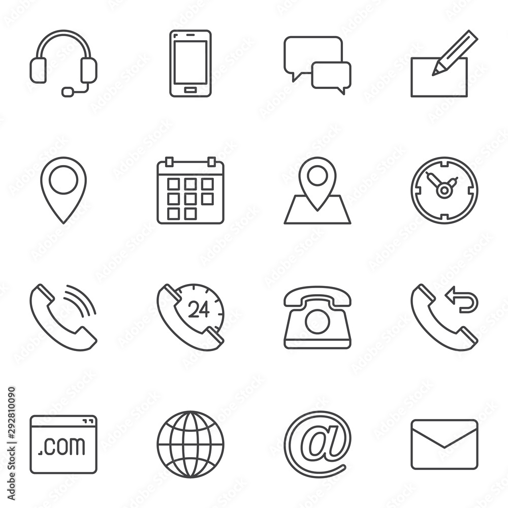 Fototapeta Contact line icons set. linear style symbols collection, outline signs pack. vector graphics. Set includes icons as support headset, telephone call, calendar, email envelope, location pin, web page
