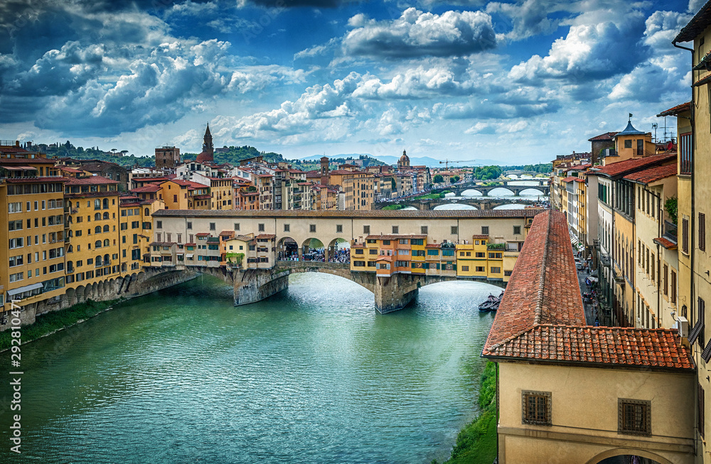 Famous bridge Ponte Vecchio on the river Arno in Florence, Italy.