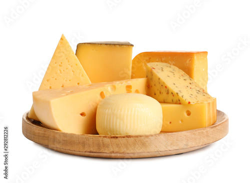 Wooden plate with different kinds of cheese on white background Tablou Canvas