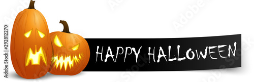 Fotografie, Tablou  happy halloween greetings with pumpkins