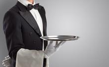 Waiter Serving With White Glov...