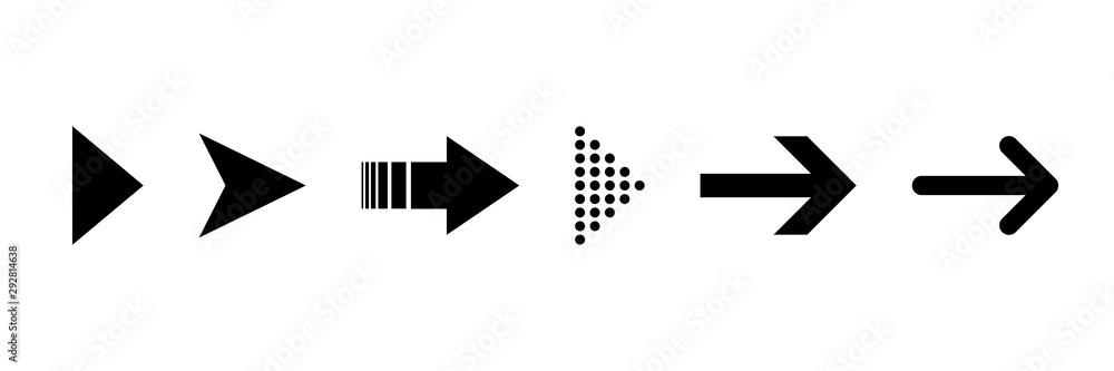 Fototapeta Arrow icon. Set of black isolated vector icon arrows. Arrow. Vector arrows collection.
