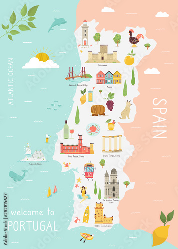 Fotomural Illustrated map of Portugal with icons, cities