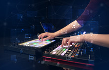 Hand Remixing Music On Midi Controller With Play Music And Multimedia Concept
