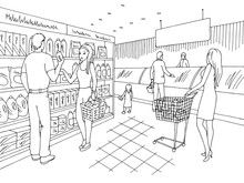 Grocery Store Shop Interior Bl...
