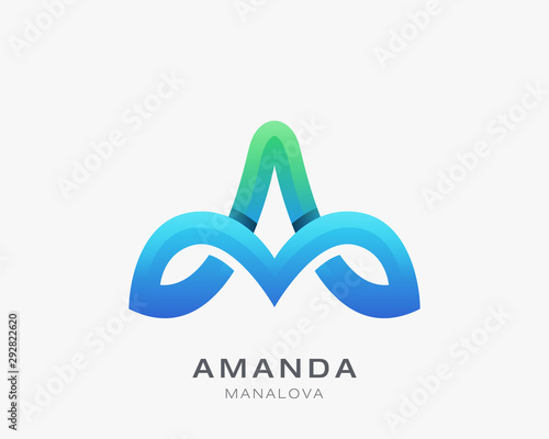 Abstract letter a vector logo Canvas Print