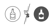 Scotch Alcohol Sign. Versus Concept. Whiskey Bottle Line Icon. Line Vs Classic Whiskey Bottle Icon. Vector