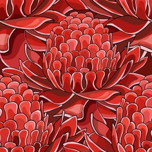 Seamless Pattern With Red Torch Ginger Etlingera Elatior Flowers Background
