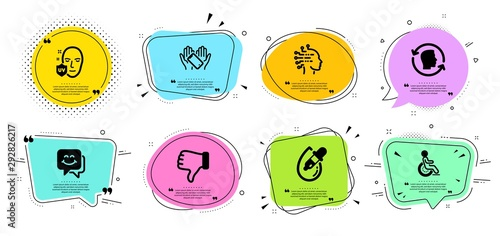 Disability, Uv protection and Smartphone holding line icons set. Chat bubbles with quotes. Eye drops, Smile face and Dislike hand signs. Face id, Artificial intelligence symbols. Vector