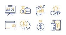 Pay, Money Wallet And Contactless Payment Line Icons Set. Salary, Loyalty Program And Report Document Signs. Presentation, Payment Symbols. Beggar, Diplomat With Money Bag. Finance Set. Vector