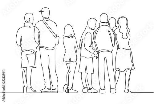 Foto  Contour line drawing group of people waiting in queue