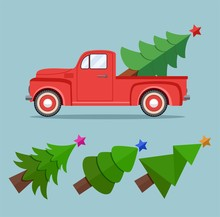 Vector Vintage Pickup Truck Delivery Of Christmas Tree