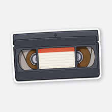 Vector Illustration. VHS Cassette. Video Tape Record System. Retro Storage Of Analog Information. Sticker With Contour. Isolated On White Background