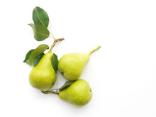Green Pears With Leaves Isolat...