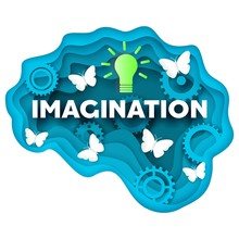 Imagination Vector Concept Illustration In Layered Paper Art Style