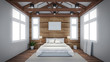 room Design wall garret Loft attic 3D rendering