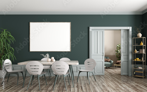 Fototapeta Interior of modern dining room with big mock up poster on the green wall 3d rendering obraz na płótnie