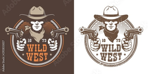 Fotografie, Obraz Cowboy with guns - wild west vintage logo