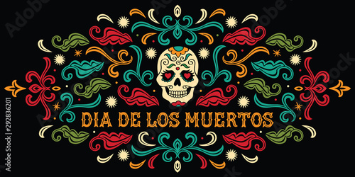 Dia de los Muertos. Mexican sugar skull with letters and ornament Wallpaper Mural