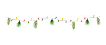 Watercolor Vector Christmas Colorful Garland With Lights And Fir Branches.