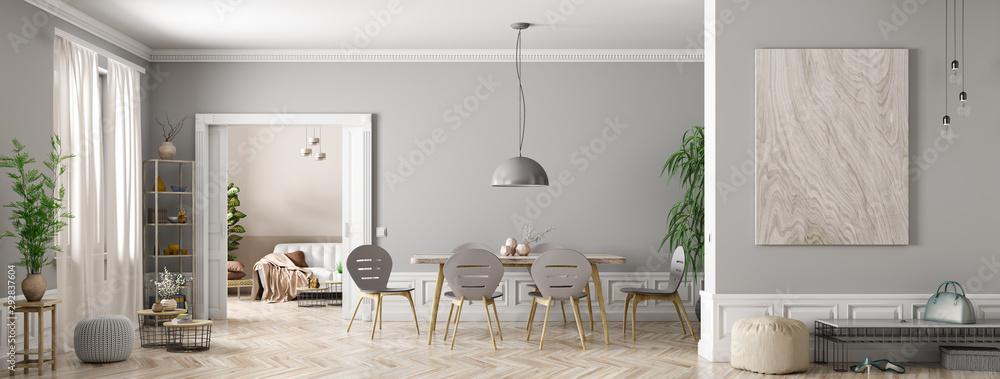 Fototapeta Interior of modern living room panorama 3d rendering