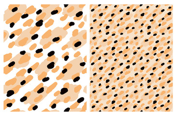 Cute Abstract Wild Animal Skin Vector Patterns.Orange and Black Irregular Brush Dots on a White Background.Lovely Pastel Color Layouts. Abstract Leopard Skin Print for Fabric, Textile, Wrapping Paper.