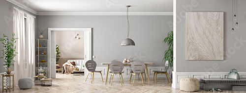Interior of modern living room panorama 3d rendering - fototapety na wymiar