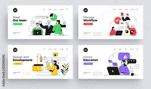 Cuadros en Lienzo  Set of Presentation slide templates or landing page websites design